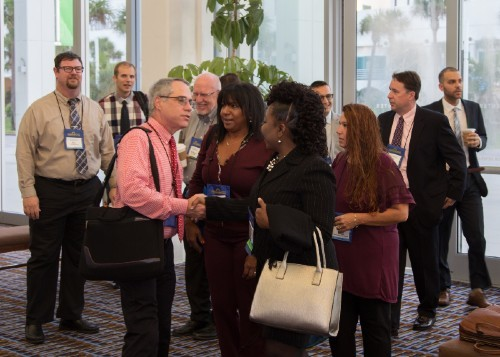 Attendees networking